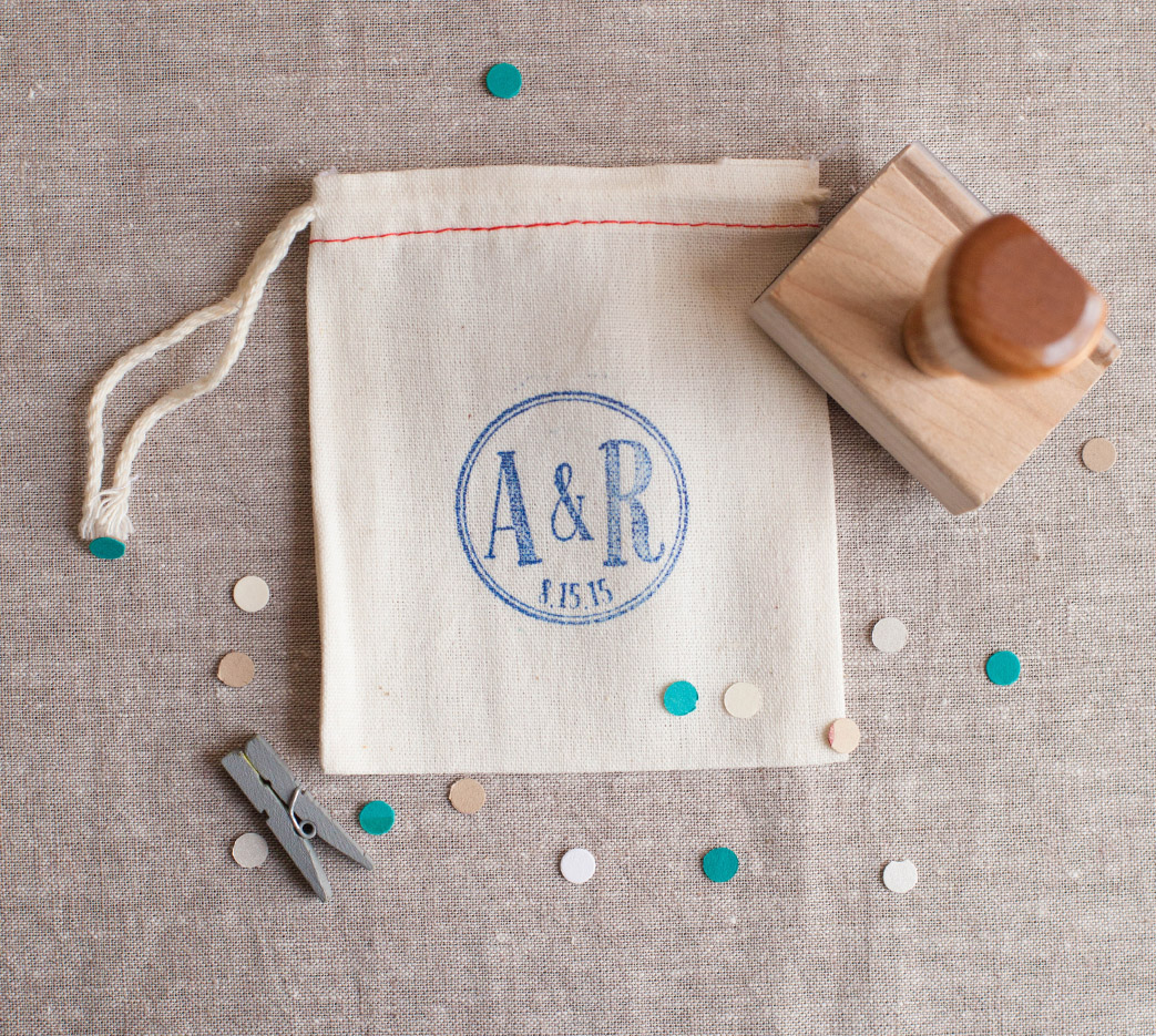 DIY Tutorial! Learn how to stamp a cotton favor bag! With a few simple supplies you can create a personalized favor bag!
