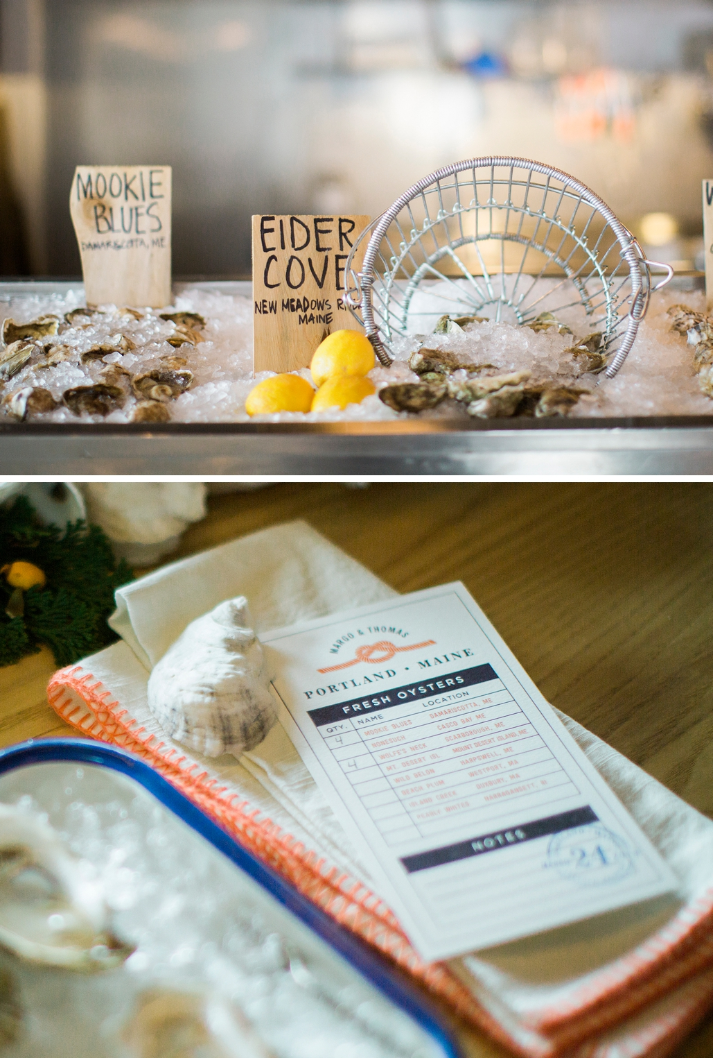 Custom wedding menu for a coastal Maine wedding. Seafood wedding menu for a Boston wedding, custom designed to match your wedding invitations.