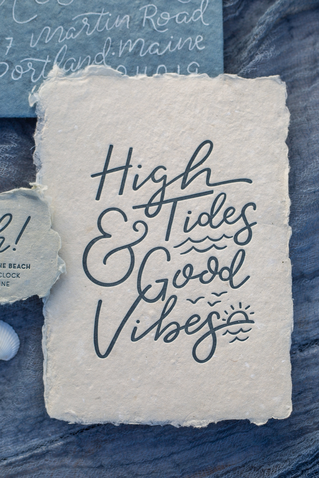 high tides and good vibes, hand lettered card and art print