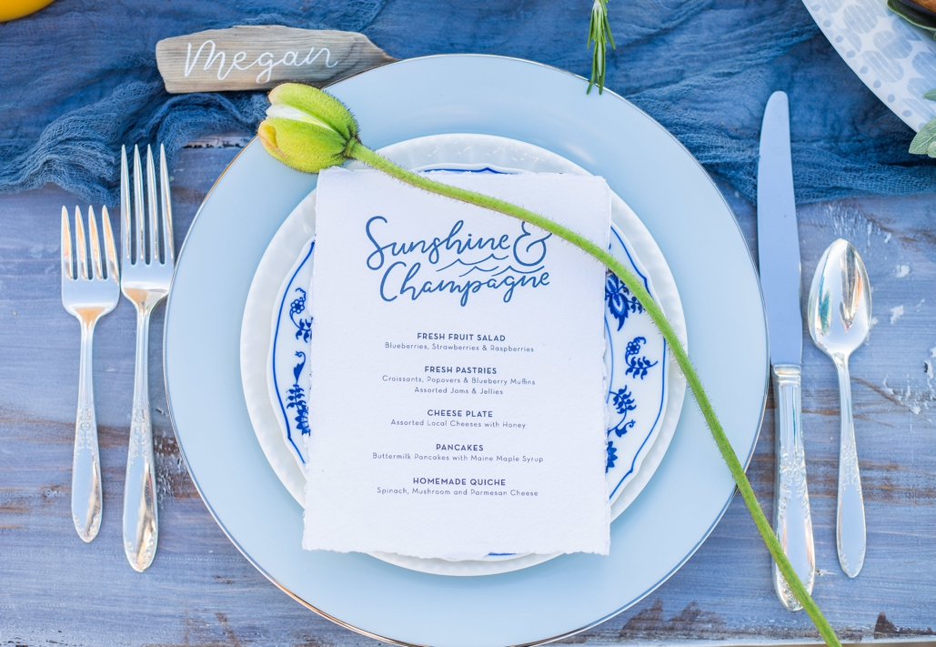 sunshine and champagne, custom brunch menu, original design for wedding invitations