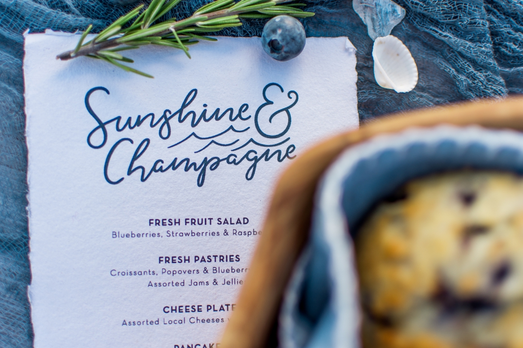 custom designed brunch menus for post wedding party