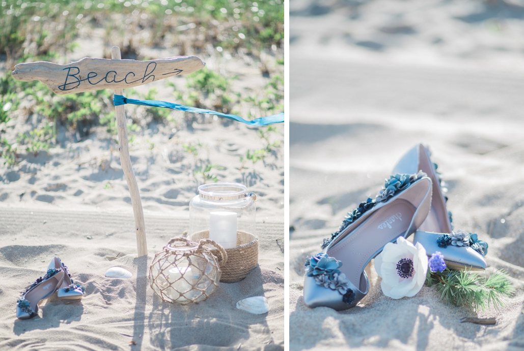 custom lettered driftwood wedding signs, direction sign for wedding on the beach