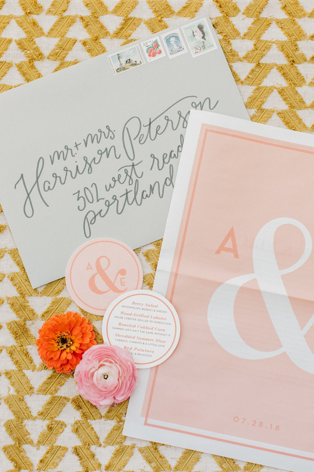custom wedding invitation suite that is oversized for a surprising twist, luxury wedding invitations that are custom illustrated and designed