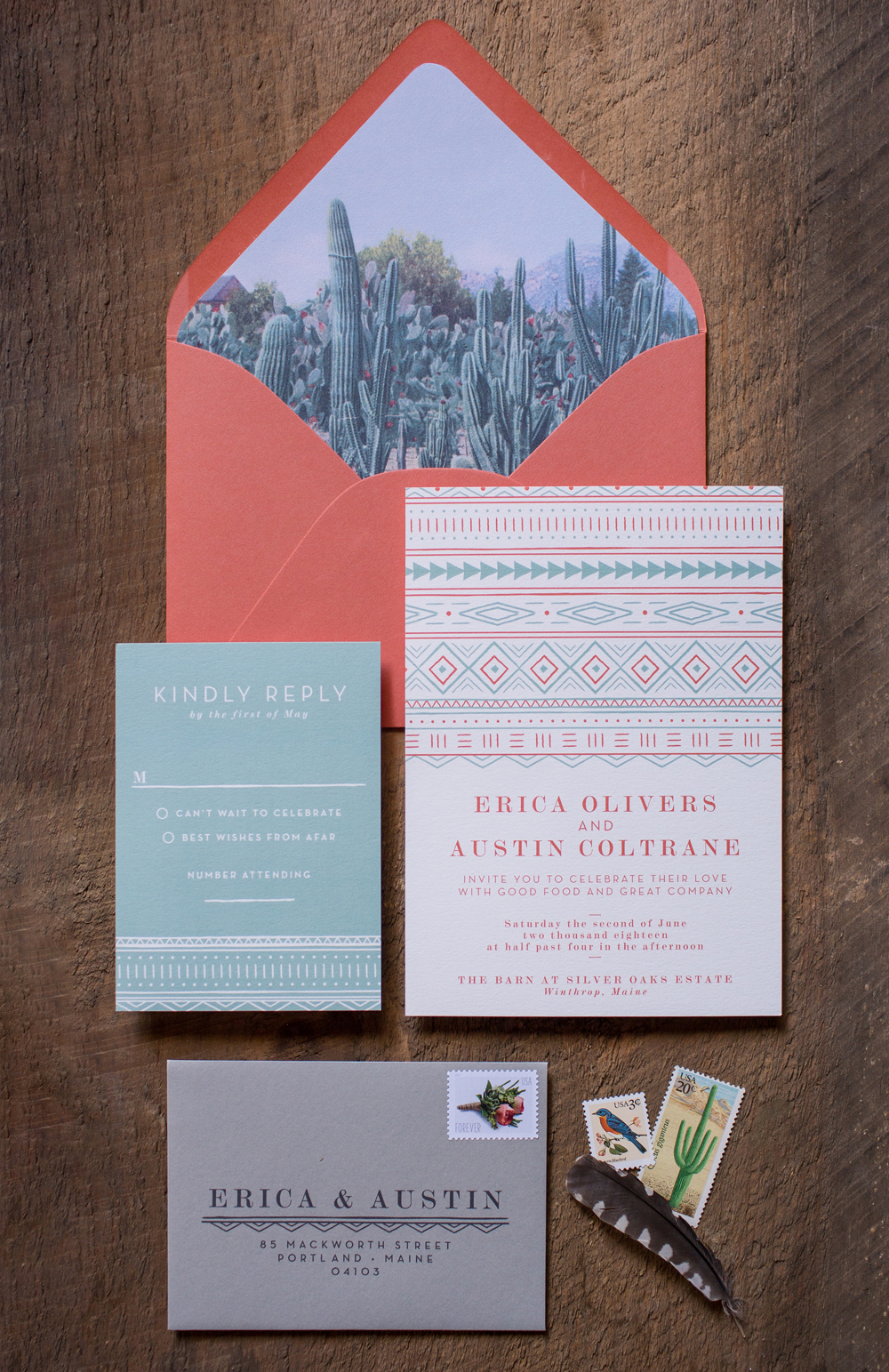 custom made wedding invitation suite inspired by cacti and the desert, boho bride invitations