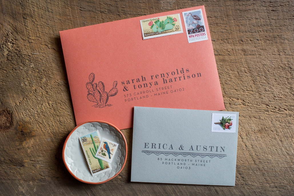 cactus wedding invitation envelopes, custom illustrated wedding invitation details