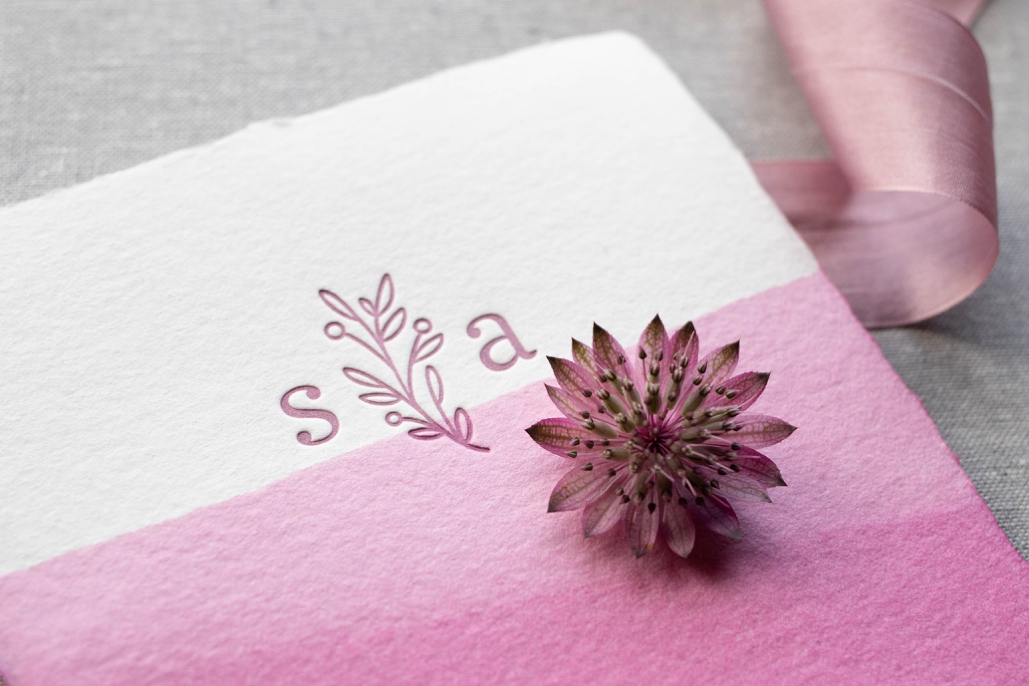 modern floral wedding monogram, custom letterpress wedding invitations on handmade paper and dyed pink