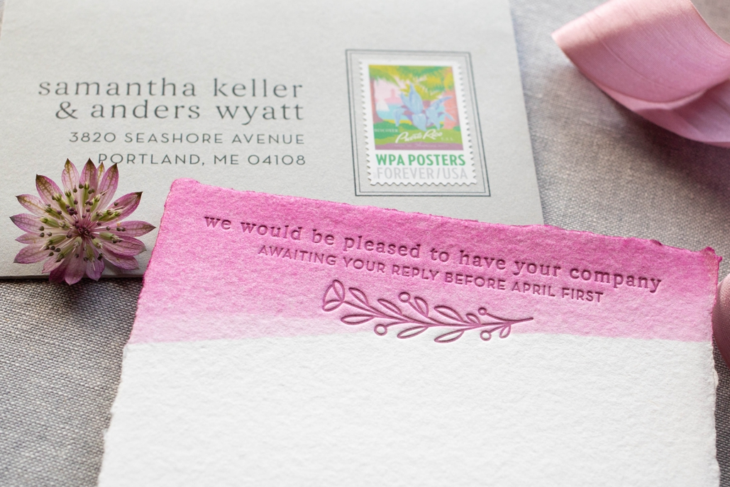 letterpress detail on wedding invitations modern floral illustration custom drawn and printed