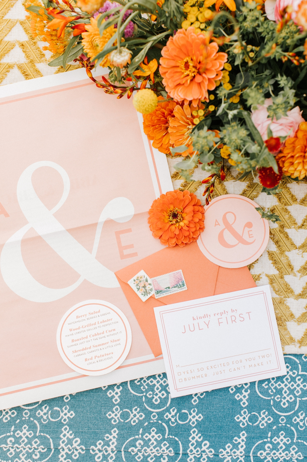 custom wedding newspaper program, modern wedding inspiration for boho brides and camp weddings. large oversized jumbo wedding invitations, with calligraphy envelopes and vintage stamps