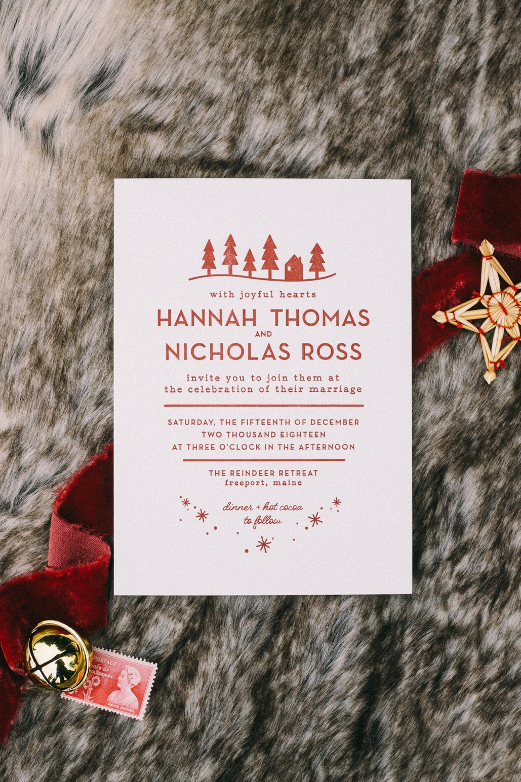 Winter Christmas wedding invitation with Scandinavian inspiration and details, minimal letterpress design