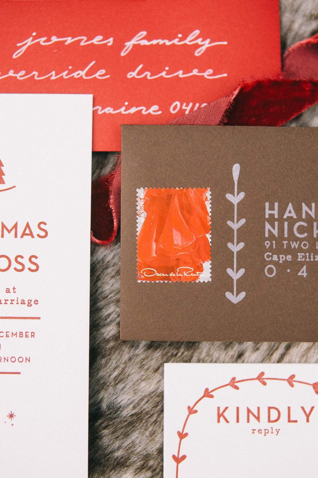 unique rsvp cards and envelopes with stamps, letterpress printed envelopes custom made and designed