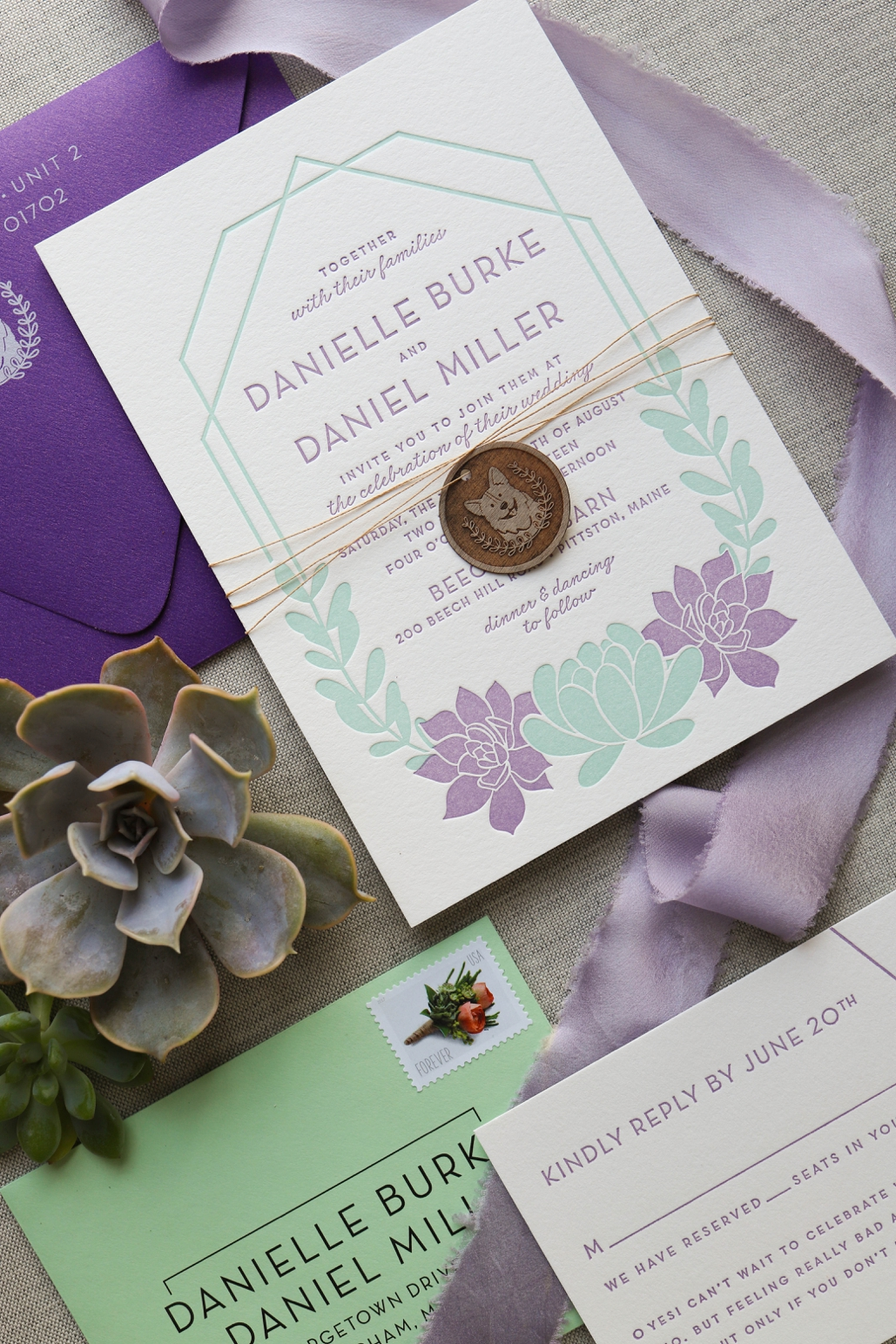 geometric succulents wedding invitation, purple and green, letterpress invitations in the north east of New England, Maine and Boston