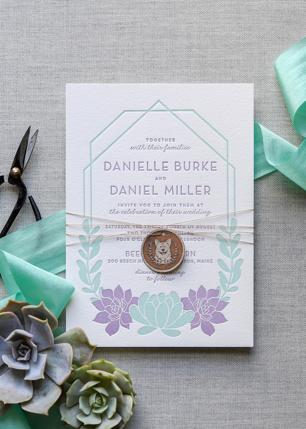 succulent desert wedding invitations with a modern twist. letterpress printed and custom illustrated