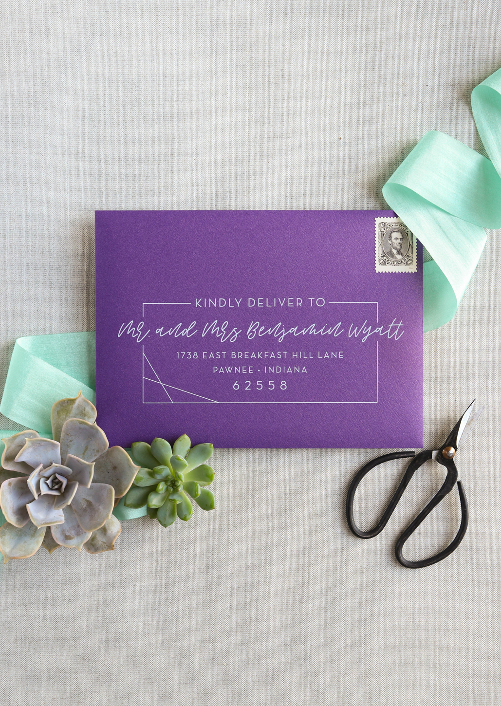 unique and exciting wedding invitation envelopes, guest addressing printed with white ink, modern and cool envelope ideas for modern weddings