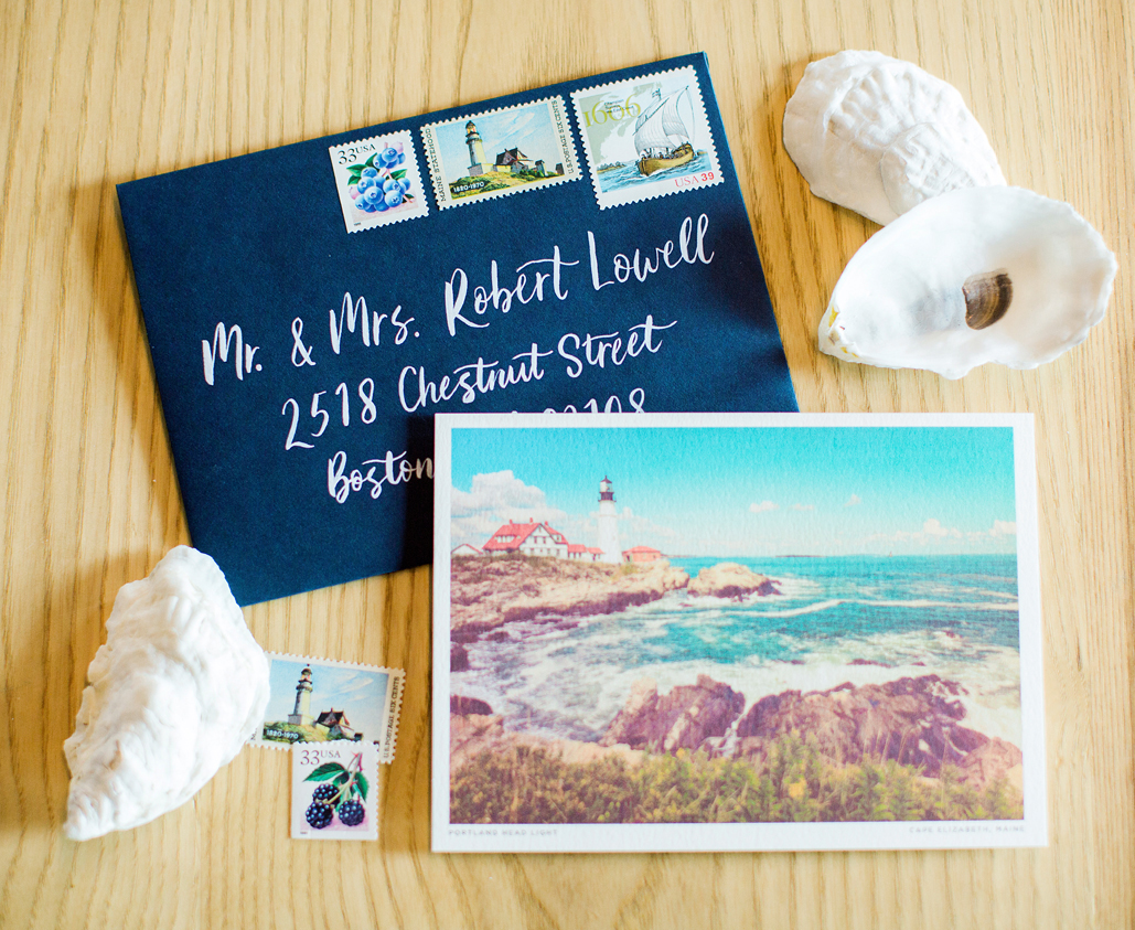 Custom designed wedding invitation with map envelope Liner and custom menu, featuring vintage lighthouse postcard from Portland