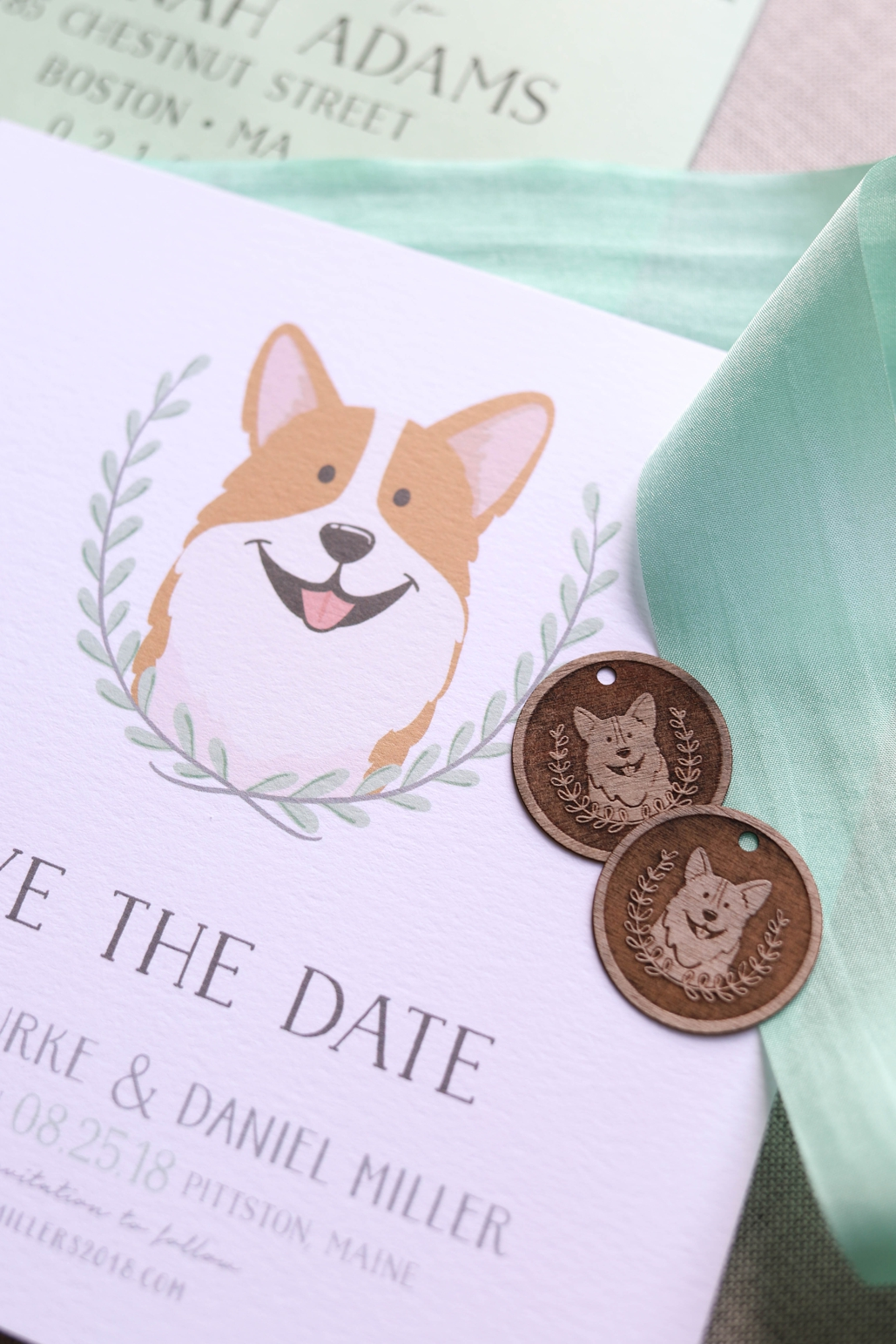 digital printed custom wedding invitations with custom cog portrait, corgi wedding invitation