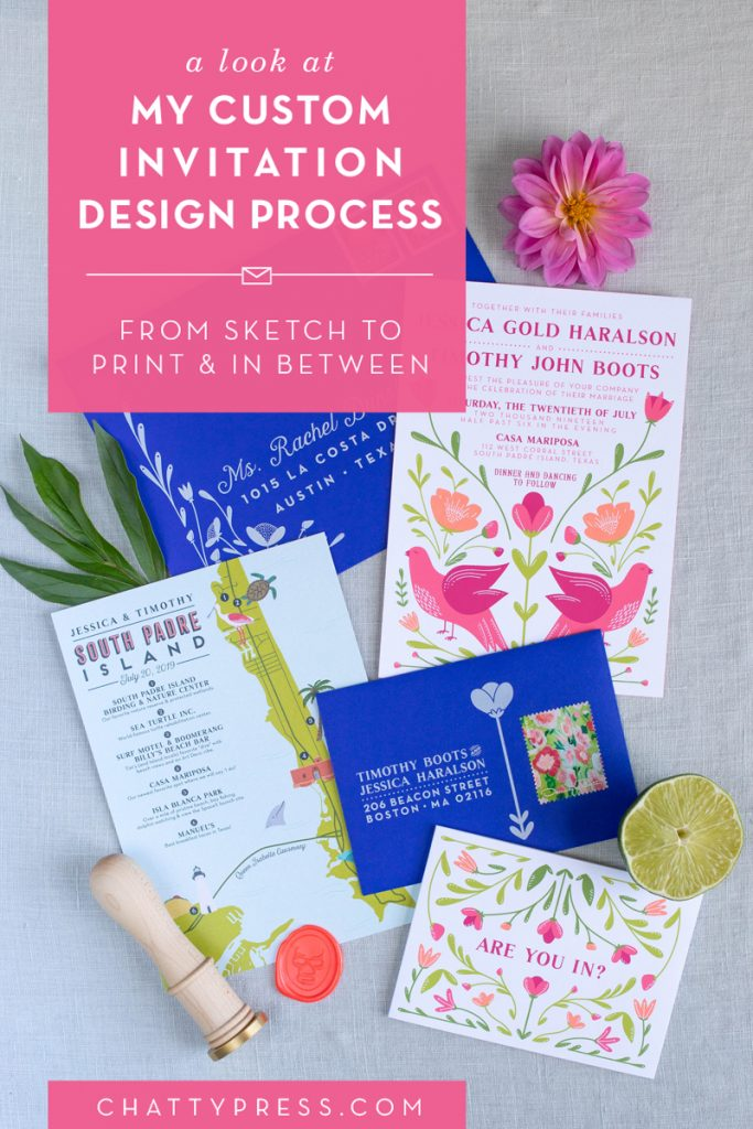 The custom invitation design process, working with a designer to create a one of a kind wedding invitation