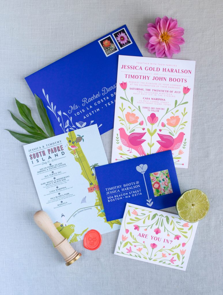 Bold bright custom wedding invitation suite, screen printed wedding invites with custom illustration, envelope liner and unique rsvp card and custom illustrated map. Original design for the couple